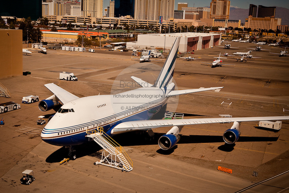 Aerial view of the private 747 aircraft owned by the Venitian Casino Las Vegas, Nevada