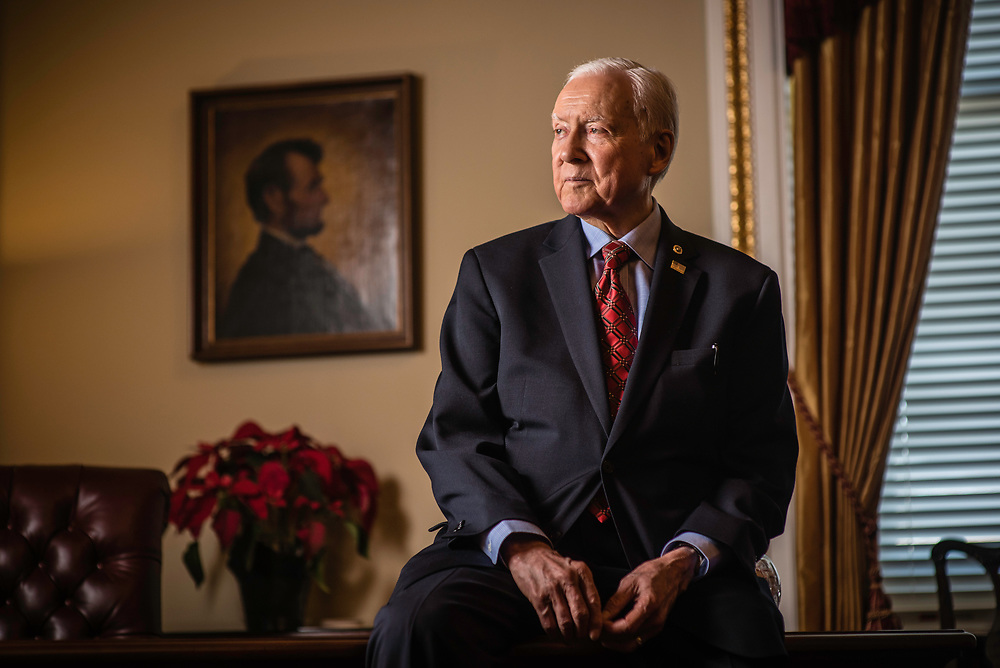 WASHINGTON, DC -- 12/21/17 -- Sen. Hatch in the Senate pro tem office with an original portrait of President Lincoln on the wall. This is the same painting that Lincoln actually sat for and is the basis for the penny. Senator Orrin Hatch is the senior senator from Utah, Chairman of the Senate Finance Committee and President pro tempore of the United States Senate..…by André Chung #_AC17981