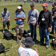 4/29/12  --- SPORTS SHOOTER ACADEMY --- SSA instructors Matt Brown, Rod Mar and Mike Goulding talks to a group of workshop participants before they start to cover a track and field meet before Sports Shooter Academy VIII. Photo by Reggie Ferraz, Sports Shooter Behind the Scenes with the cast and crew of Sports Shooter Academy.