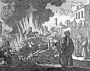 Burning of Polycarp, Smyrna, AD 168       Jan Luiken (1649-1712) etching in the Martyrs Mirror