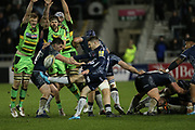 Will Cliff kicks during the Aviva Premiership match between Sale Sharks and Northampton Saints at the AJ Bell Stadium, Eccles, United Kingdom on 25 November 2017. Photo by George Franks.