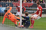 Leeds United forward Patrick Bamford (9) scores a goal 0-1 and hits the post to get injured during the EFL Sky Bet Championship match between Bristol City and Leeds United at Ashton Gate, Bristol, England on 9 March 2019.