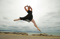 World's Her Oyster for Dancer Gillian. .Gillian Quinn from Corcullen, Galway jumps for joy on Silver Strand regardsless of her leaving cert results . The 18 year old dance student has the world at her feet as she heads off to the UK next week to study at one of the UK's top musical theatre schools in Blackpool. .A graduate of the Performing Arts School Galway, Gillian is following in the footsteps of former Performing Arts School Galway student and West End leading lady Aoife Mulholland who also travelled to the UK to complete the studies in Musical Theatre  . Photo:Andrew Downes