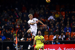 January 26, 2019 - Valencia, Spain - Daniel Wass of Valencia CF  (L) and Mario Gaspar of Villarreal CF (R)  during  spanish La Liga match between Valencia CF vs Villarreal CF at Mestalla Stadium on Jaunary  26, 2019. (Credit Image: © Jose Miguel Fernandez/NurPhoto via ZUMA Press)