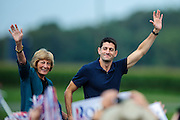 Republican Vice Presidential Candidate Rep. Paul Ryan and his mother Betty Douglas arrive for a rally at the Rockingham County Fairgrounds near Harrisonburg, Virginia on Friday.