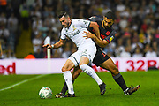 Leeds United midfielder Jack Harrison (22) and Stoke City defender Cameron Carter-Vickers (12) in action during the EFL Cup match between Leeds United and Stoke City at Elland Road, Leeds, England on 27 August 2019.