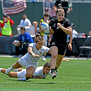 Michaela Blyde, shown here scoring a try in their Semi-Final victory over the USA, and her NZ Black Fern 7's teamates defearted the French women to be crowned World Cup 7's 2018 Champions at, AT&T Park, San Francisco, California, USA.  Photo by Barry Markowitz, 7/21/18, 11am