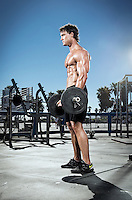 Actor Gregg Plitt works out at muscle beach in Venice CA.