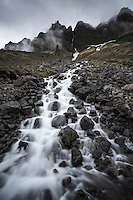Stream running down Tóarfjall mountain, West fiords of Iceland.