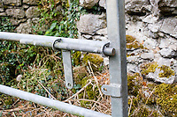 Iron farmyard gate with bolt in Ireland