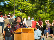 01 JUNE 2020 - DES MOINES, IOWA: BETTY ANDREWS, President of the Iowa-Nebraska NAACP, talks about racial justice, George Floyd, and police violence against African-Americans during a rally at the Iowa State Capitol. About 1,000 people gathered in front of the Iowa State Capitol in Des Moines Monday evening for a rally calling for racial justice. The rally was one week after George Floyd, an unarmed black man, was killed by a Minneapolis police officer who knelt on Floyd's back for more than eight minutes. There were protests  in Des Moines all weekend against Floyd's killing. There was some violence and some people have been arrested but the protests in Des Moines haven't been as serious as protests in other cities.          PHOTO BY JACK KURTZ