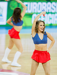 Cheerleaders Ladies perform during basketball match between National teams of Serbia and France in Round 2 at Day 12 of Eurobasket 2013 on September 15, 2013 in Arena Stozice, Ljubljana, Slovenia. (Photo by Vid Ponikvar / Sportida.com)