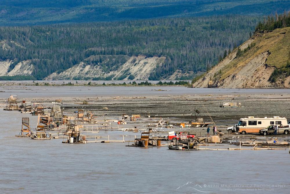 Salmon fish wheels along the banks of the Copper River near Chitina Alaska