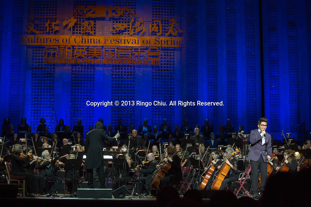 "Chinese singer Sha Baoliang performs during a concert ""Cultures of China, Festival of Spring"" 2013 Song Zuying USA Spectacular, at the Shrine Auditorium on Friday March 1, 2013 in Los Angeles. (Photo by Ringo Chiu/PHOTOFORMULA.com)."