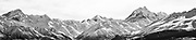 A large panoramic of snow blanketing Mount Cook and the Southern Alps.