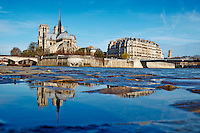 France, Paris (75), les rives de la Seine classées Patrimoine Mondial de l'UNESCO et la cathédrale Notre Dame sur l'île de la Cité et le pont Saint-Louis // France, Paris, Seine river and Notre Dame Cathedral on the Cité island