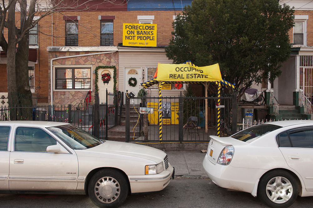 Occupy Housing.The occupied house in East New York, Brooklyn..The East New York foreclosed home had been vacant for three years before for Alfredo Carrasquillo and others took it over for Occupy Wall Street......photo © Stefan Falke.