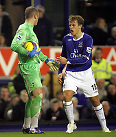 Photo: Paul Thomas.<br /> Everton v Tottenham Hotspur. The Barclays Premiership. 21/02/2007.<br /> <br /> Everton captain Phil Neville (R) tries to get the ball off Paul Robinson after Everton get a free kick.