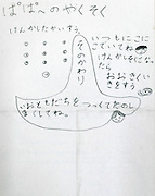 A message written by the 10-year-old daughter of Satoru Tanaka (pseudonym) in Tokyo, Japan on Dec. 01, 2016.  ROB GILHOOLY PHOTO