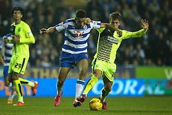 Nick Blackman of Reading is tackled by Emyr Huws of Huddersfield Town - Mandatory byline: Jason Brown/JMP - 07966 386802 - 03/11/2015- FOOTBALL - Madejski Stadium - Reading, England - Reading v Huddersfield Town - Sky Bet Championship