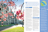 Opening page for Victoria, as featured in the HelloBC travellers' guide for 2105 features a stock photo taken at the legislature building, 2014