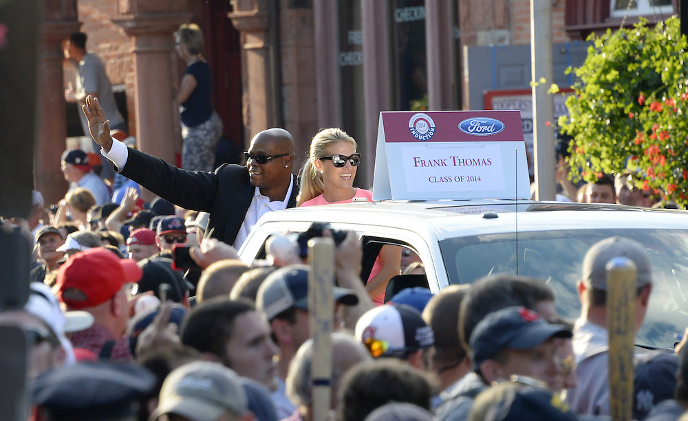 COOPERSTOWN, NY - JULY 26:  2014 Hall of Fame inductee Frank Thomas participates in the annual Parade of Legends down Main Street in Cooperstown, New York on July 26, 2014.
