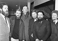 The Dubliners, L-R Ciaran Bourke, Ronnie Drew, Pete Seeger, John Sheahan, Barney McKenna and Luke Kelly . (Part of the Independent Newspapers Ireland/NLI Collection)