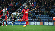 Jordan Rhodes scores during the Sky Bet Championship match between Preston North End and Blackburn Rovers at Deepdale, Preston, England on 21 November 2015. Photo by Pete Burns.