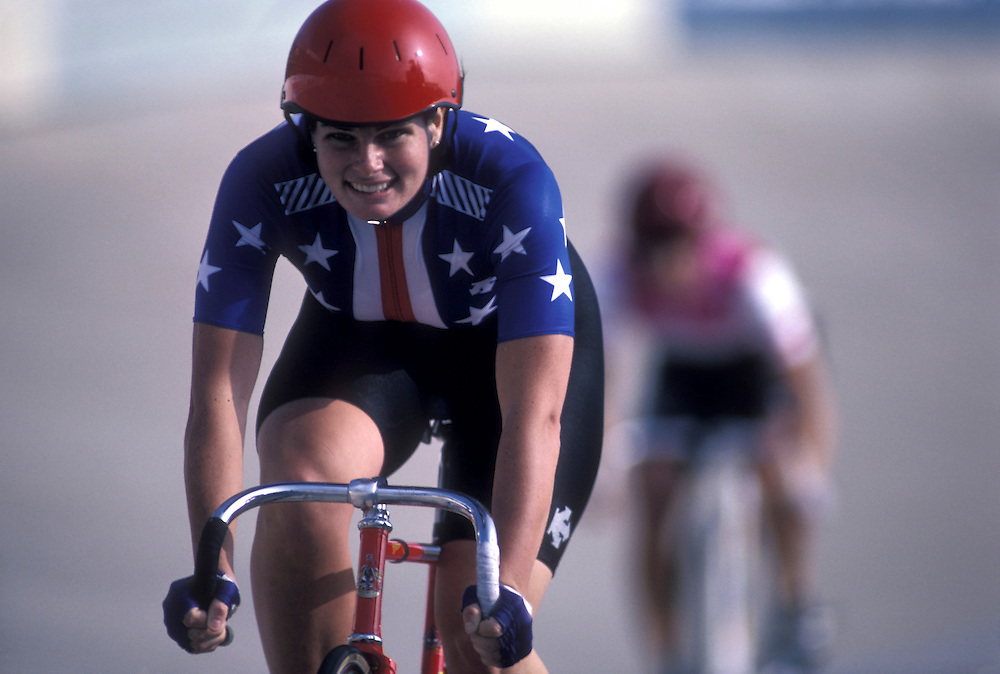 USA, Pennsylvania, Racer competes in National Track Championships Team Pursuit race at Trexlertown Velodrome