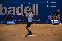 April 27, 2018 - Barcelona, Catalonia, Spain - DOMINIC THIEM (AUT) serves against Stefanos Tsitsipas (GRE)  in their quarter final of the 'Barcelona Open Banc Sabadell' 2018. Tsitsipas won 6:3, 6:2 (Credit Image: © Matthias Oesterle via ZUMA Wire)
