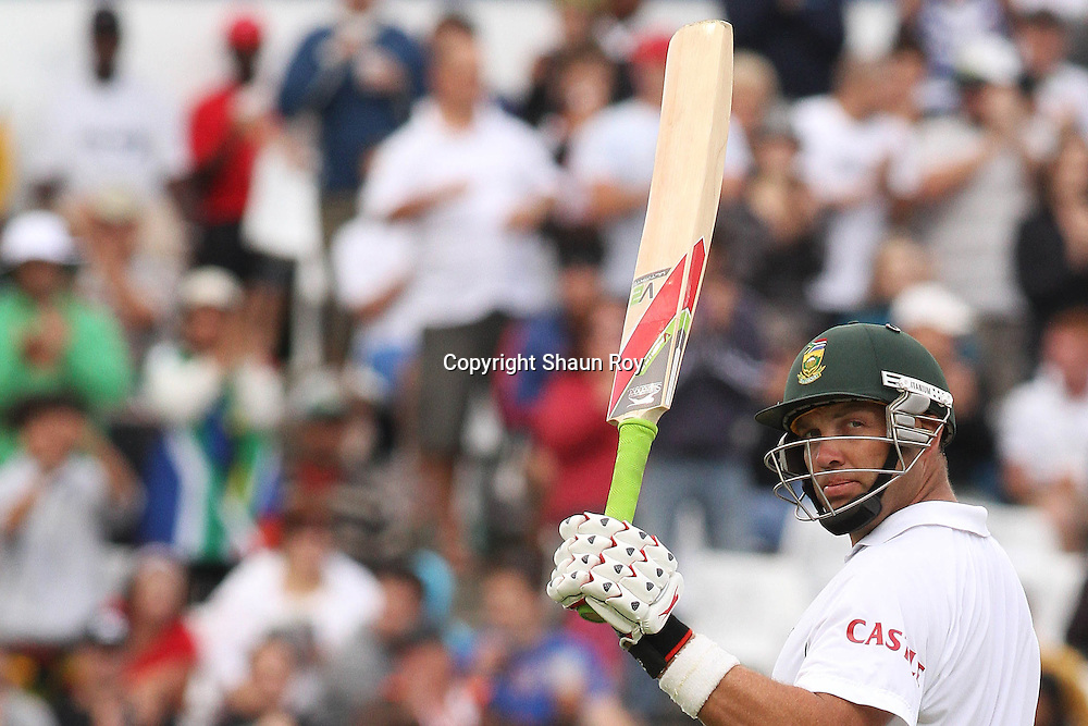 CAPE TOWN, SOUTH AFRICA - 2 January 2011, Jacques Kallis of South Africa raises his bat after reaching his fifty during day 1 of the 3rd Castle Test between South Africa and India held at Sahara Park Newlands Stadium in Cape Town, South Africa on the 2 January 2011 .Photo by: Shaun Roy