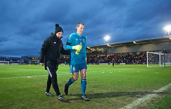 NEWPORT, WALES - Thursday, April 4, 2019: Wales' goalkeeper Laura O'Sullivan walks back to the dressing room with fourth official Cheryl Foster at half-time during an International Friendly match between Wales and Czech Republic at Rodney Parade. (Pic by David Rawcliffe/Propaganda)