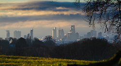 "Distand clouds loom over south west London. The threatened snow from ""The Beast From The East"" weather system doesn't materialise overnight in London leaving a crisp, clear morning, seen from Hampstead Heath in North London. London, February 27 2018."