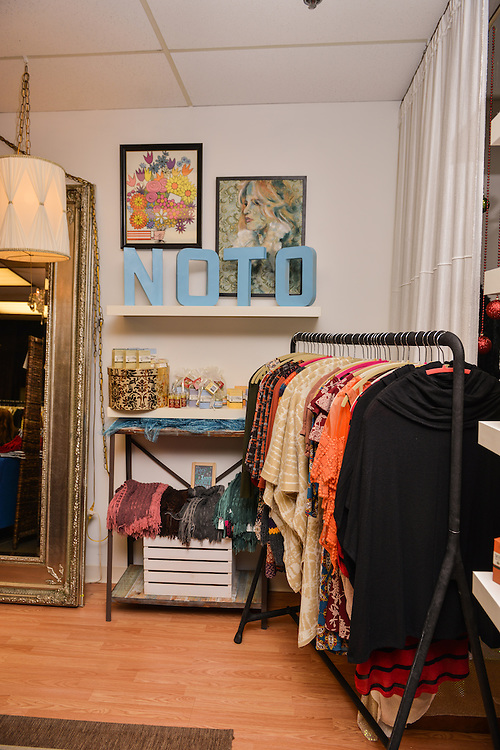 Displays of items for sale at NOTO Boutique.