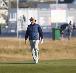 Andy Garcia playing the first hole. Alfred Dunhill Links Championship this morning at Championship Course at Carnoustie.
