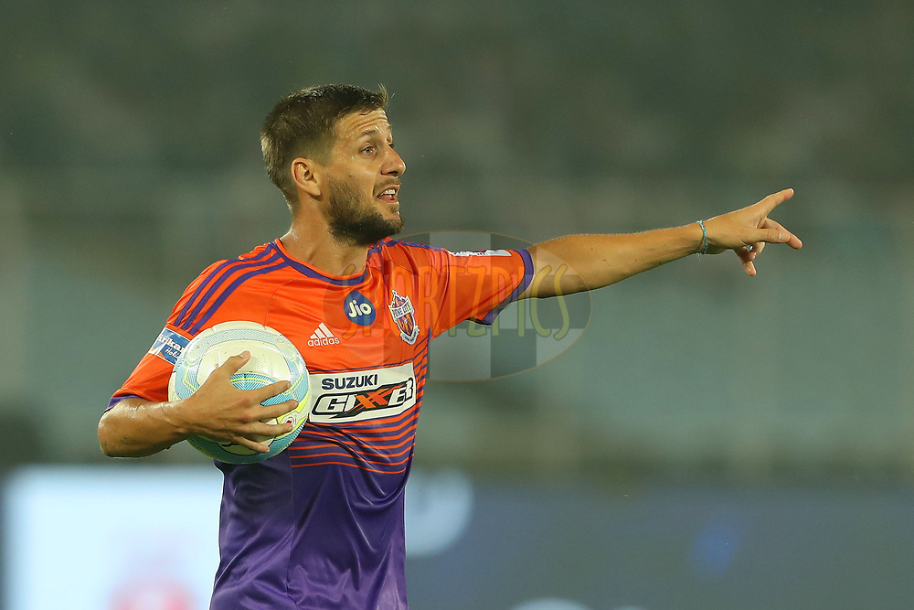 Emiliano Alfaro of FC Pune City during match 9 of the Hero Indian Super League between ATK and FC Pune City held at the Vivekananda Yuba Bharati Krirangan Stadium, Kolkata, India on the 26th November 2017<br /> <br /> Photo by: Ron Gaunt / ISL / SPORTZPICS