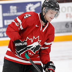 TRENTON, - Dec 10, 2015 -  Exhibition Game 3-  Russia vs Team Canada West at the 2015 World Junior A Challenge at the Duncan Memorial Gardens, ON. Brett Orr #4 of Team Canada West during the pre-game warmup (Photo: Amy Deroche / OJHL Images)