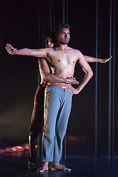 © Licensed to London News Pictures. 16/09/2015. London, UK. L-R: Shailesh Bahoran and Sooraj Subramaniam. Dress rehearsal for the World Premiere of Shobana Jayasingh's new work Material Men performed by bharathanatyam soloist Sooraj Subramaniam and hip hop dancer Shailesh Bahoran at Queen Elizabeth Hall, Southbank Centre. Material Men premieres in a double bill with 2013 commission Strange Blooms on 16 September 2015 and then tours to Cheltenham, Brighton, Swansea and Aberystwyth. Photo credit: Bettina Strenske/LNP