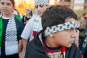 30 DECEMBER 2008 -- PHOENIX, AZ: Palestinian-American boys at a pro-Palestinian demonstration in Phoenix, AZ, Tuesday. About 200 people from a variety of human rights and peace activists organizations in Phoenix, AZ, marched in opposition to the Israeli attacks on Gaza and in favor of Palestinian rights on Tuesday, the fourth day of Israeli air strikes on Hamas facilities in Gaza. Photo by Jack Kurtz / ZUMA Press