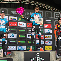 2019-10-19: Cycling: Superprestige: Boom: Yorben Lauryssen wins the race of the Ridley Cup for Juniors ahead of his teammate Arne Baers and Jelle Harteel