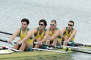 Munich, GERMANY.  AUS2 M4-, Bow. William LOCKWOOD, Samuel LOCH, Nicholas PURNELL and Joshua DUNKLEY-SMITH.  2010 FISA World Cup. Olympic Rowing Course, Munich.  Friday  18/06/2010   [Mandatory Credit Peter Spurrier/ Intersport Images]