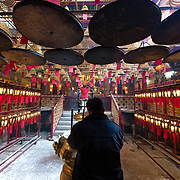 Burning incense coils at Man Mo temple, Hong Kong