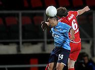 13-09-2008 VOETBAL:FC TWENTE:NEC NIJMEGEN:ENSCHEDE <br /> Rachid Bouaouzan in duel met Wout Brama<br /> Foto: Geert van Erven