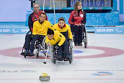 Wei Liu, Guangqin Xu, Qiang Zhang, Wheelchair Curling Semi Finals at the 2014 Sochi Winter Paralympic Games, Russia