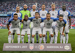 September 1, 2017 - Harrison, NJ, USA - Harrison, N.J. - Friday September 01, 2017: U.S. Men's National team starting eleven during a 2017 FIFA World Cup Qualifying (WCQ) round match between the men's national teams of the United States (USA) and Costa Rica (CRC) at Red Bull Arena. (Credit Image: © John Dorton/ISIPhotos via ZUMA Wire)