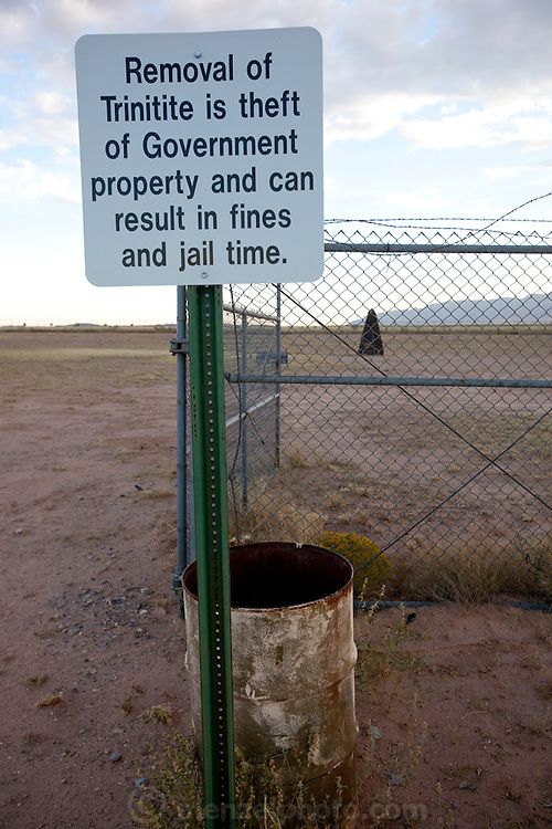 """Site Trinity, ground zero, on the White Sands Missile Range in S. New Mexico. Site of the world's first atomic explosiion on August 6, 1945. The atomic bomb was developed by the Manhatten Project. The Manhattan Project refers to the effort during World War II by the United States, in collaboration with the United Kingdom, Canada, and other European physicists, to develop the first nuclear weapons. Formally designated as the Manhattan Engineering District (MED), it refers specifically to the period of the project from 1942-1946 under the control of the U.S. Army Corps of Engineers, under the administration of General Leslie R. Groves, with its scientific research directed by the American physicist J. Robert Oppenheimer. The project succeeded in developing and detonating three nuclear weapons in 1945: a test detonation on July 16 (the Trinity test) near Alamogordo, New Mexico; an enriched uranium bomb code-named """"Little Boy"""" detonated on August 6 over Hiroshima, Japan; and a plutonium bomb code-named """"Fat Man"""" on August 9 over Nagasaki, Japan. (http://en.wikipedia.org/wiki/Manhattan_Project)"""