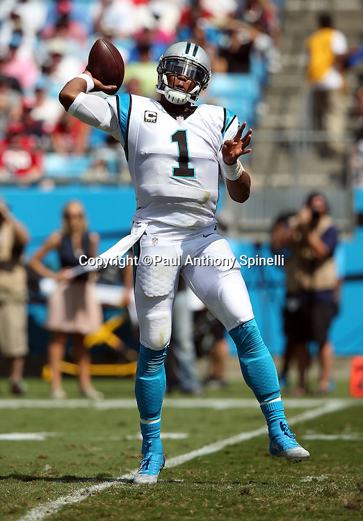 Carolina Panthers quarterback Cam Newton (1) throws a first quarter pass during the 2015 NFL week 2 regular season football game against the Houston Texans on Sunday, Sept. 20, 2015 in Charlotte, N.C. The Panthers won the game 24-17. (©Paul Anthony Spinelli)