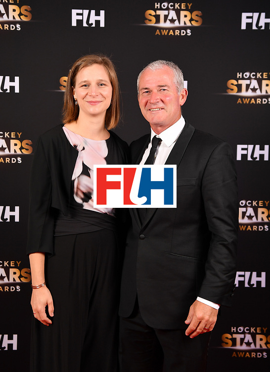 BERLIN, GERMANY - FEBRUARY 05:  Shane Mcleod  of New Zealand with his poses with is wife during the Hockey Star Awards night at Stilwerk on February 5, 2018 in Berlin, Germany.  (Photo by Stuart Franklin/Getty Images For FIH)