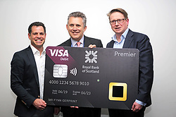 Mike Lemberger of Visa (left), with Les Matheson, head of RBS Retail, and Anthony Lloyd Perks of digital security firm Gemalto holding a biometric fingerprint card which has been launched by RBS to be tested by 200 customers. pic copyright Terry Murden @edinburghelitemedia