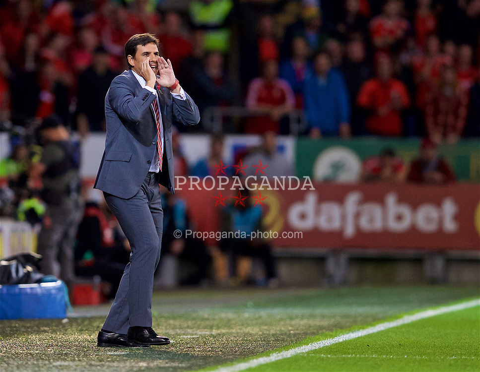 CARDIFF, WALES - Monday, October 9, 2017: Wales' manager Chris Coleman during the 2018 FIFA World Cup Qualifying Group D match between Wales and Republic of Ireland at the Cardiff City Stadium. (Pic by David Rawcliffe/Propaganda)